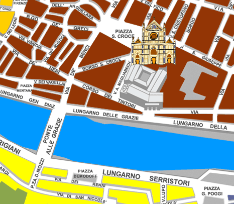 Tourist Map of Florence City Center and Environs